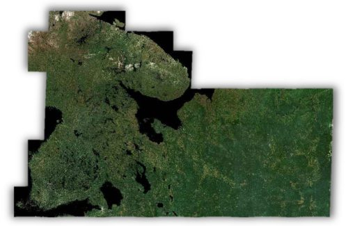 Satellite image of Finland and parts of Russia.