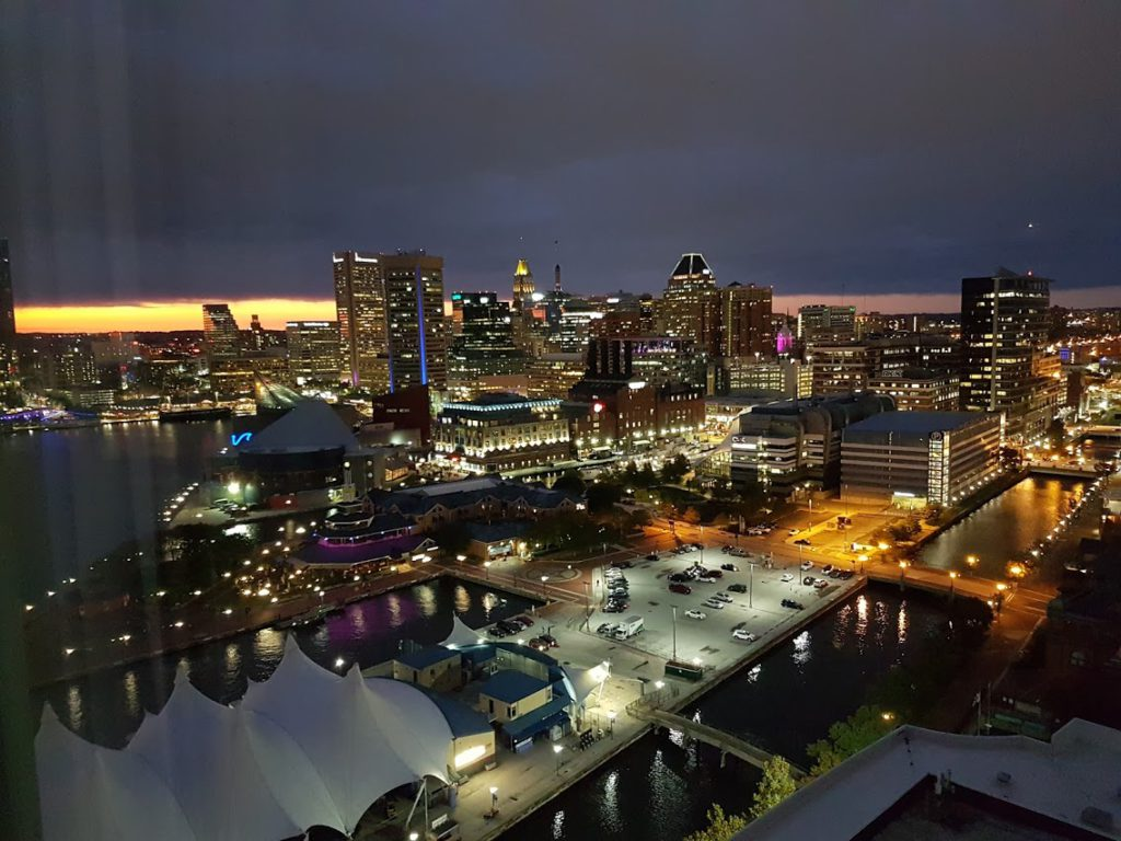 Baltimore landscape at night time.