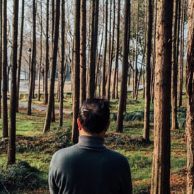A man in front of forest.