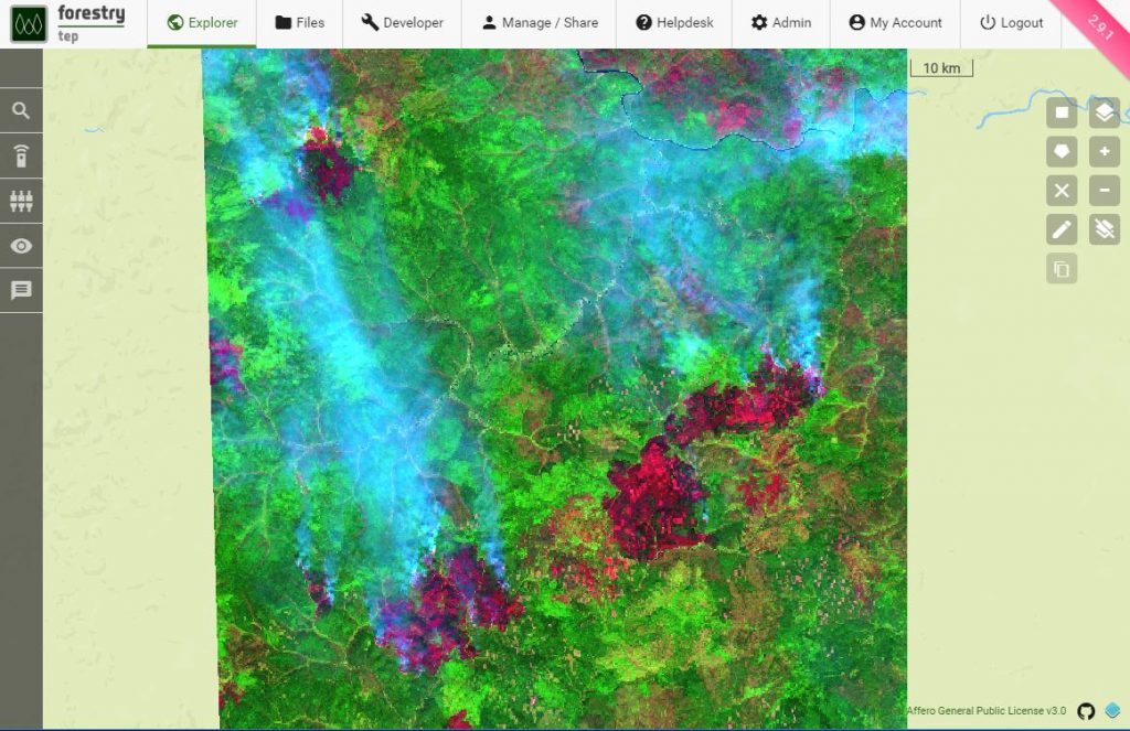 False colour Sentinel-2 image on Siberian fires on the 6th August 2019