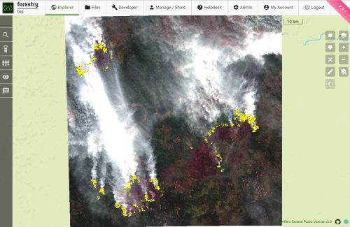 Real colour Sentinel-2 image of Siberian fires on the 6th August 2019